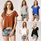 Women's Ladies Short Sleeve V-Neck Hollow Out Casual Tops Blouse T-Shirt ED