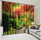Autumn Garden Colorful Trees 3D Blockout Photo Printing Curtains Draps Fabric
