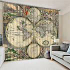 Old World Vintage Maps 3D Blockout Photo Printing Curtains Draps Fabric Window