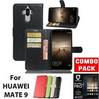 Wallet Flip Leather Case Cover for Huawei Mate 9 + FullCover Screen Protector