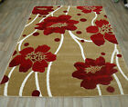 FLORAL RUGS HAND CARVED BEST SMALL LARGE QUALITY BROWN BLACK RED FLORAL RUGS