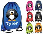 Personalised Penguin Gym Bag Swim Nursery Drawstring School PE Kit Sports Kids