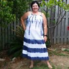 Cotton Ombre Maxi Dress NEW Tie Dye Summer Dress Size 10 12 14 16 Red or Blue