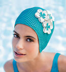 Ladies Swimming Cap - FASHY - Retro Vintage Style Bubble Swim Hat with 3 Flowers