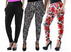 Womens Full Length Harem Trousers Hareem Leggings Pants With Pockets Sizes 08-14