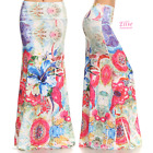 Watercolor Floral Sublimation high waist fold over maxi long skirt (S/M/L/XL)