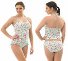 Halterneck Bandeau Tankini Swimming Costume Padded FLORAL MintGreen French Frill
