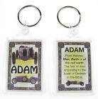 """NOVELTY NAME KEYRING PRINTED BOTH SIDES WITH ORIGIN & MEANING, LETTER """"A"""" UK NEW"""