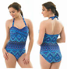 Halterneck PAISLEY PEACOCK Blue Turquoise Swimming Floral Costume Swim Suit