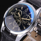 Fashion Men's Black Leather Stainless Steel Military Sport Quartz Wrist Watch image