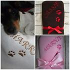 PERSONALISED DOG CAT PET BLANKET NAME EMBROIDERED PAWS CRATE BED PUPPY GIFT