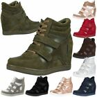 WOMENS SHOES LADIES WEDGES TRAINERS LACE UP HIGH TOP BOOTS ANKLE MID HEEL STYLE