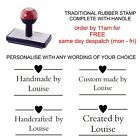 PERSONALISED/CUSTOMISED HEART HANDMADE BY RUBBER STAMP, HOBBY CRAFTS CARDS TAGS