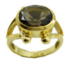 inviting Smoky Quartz Gold Plated Brown Ring gemstones US 6,7,8,9