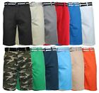 Men's 100% Cotton Slim Fit Belted Shorts - 5 pockets - Soft Washed Cotton Twill
