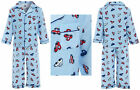 Boys 100% COTTON Flannel Pyjamas Brushed Wincy Buttoned Blue Red Car Warm Collar