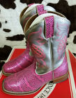 kids cow girl boots - New Justin Boots Kids Girls Pink Silver Leather Cowgirl Cowboy Boots Size 9 2 3