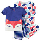 Carter's 4 Piece Blue/White Cat & Polka Dot Printed Tops with Matc - Toddler