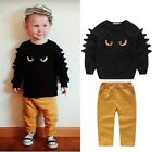 Cute 2pc Sweatshirt Pullover Top + Pant Clothes Set Baby Toddler Boy Outfit Suit