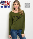 Women Casual Career Style Forest Green Ribbed Graphic Ciao Long Sleeve Top S-L