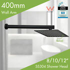 "8"" 10"" 12"" Black Rainfall Shower Head Wall Rail Arm Dropper Square Metal Wels"