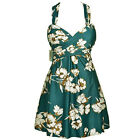 Womens Crossover One Piece Swimdress Green Floral Skirted Swimsuit 18 16 14 12