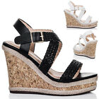 Womens Platform Espadrille Cork Wedge Heel Barely There Strappy Sandals Sz 5-10