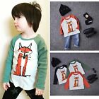Toddler Kids Baby Boy Girl Soft Cotton Long Sleeve Fox T-Shirt Tees Tops Clothes