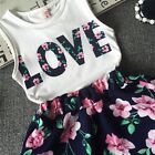 2PCS Toddler Kids Baby Girls T-shirt Tops+Skirt Dress Love Outfits Set Clothes
