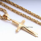 Men 5MM Chain Byzantine Gold Tone Stainless Steel Cross PENDANT with NECKLACE