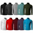 Mens Cotton Turtleneck Polo Pullover Sweater Stretch Jumper(10 Colors)