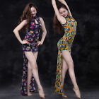 New 2016 Women Prints Belly Dance Costumes Stage 2Pics Long Dress