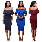 Women Flounce Ruffle Off Shoulder Short Sleeve Bandage Bodycon Cocktail Dress