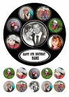 "7.5"" ROUND PERSONALISED OWN COLLAGE PHOTO CAKE TOPPER WITH CUPCAKE TOPPERS"