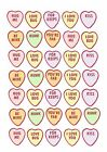 35 / 70 PRECUT LOVE HEARTS EDIBLE CUPCAKE TOPPERS RICE WAFER CARD HEART SHAPE