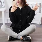 Black Simple Comfortable Cotton Long Sleeve Large Size Women's Shirt/Dress &