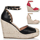 Womens Platform Stud Wedge Heel Barely There Espadrille Sandals Pumps Shoes Sz 5