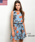 Women Casual Party Sleeveless Mini Fit and Flare Floral Dress with Belt