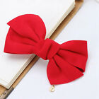 ❀ 5 Inch Fabric Hair Bow Knot With Charm Barrette Clip ❀ 7 Colours ❀ UK STOCK ❀