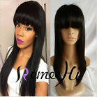 Hot Sale 100% Brazilian Virgin Hair Lace Wig Straight Lace Front Wigs With Bangs