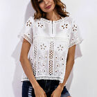 Ladies hollow out lace blouse shirt Women loose Tunic zipper casual Summer beach