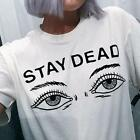 STAY DEAD Eyes Print Harajuku Womens T-shirt White Round Neck Simple Basic Top