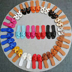 Women Synthetic Leather Round Cowhide Mules Chunky Heel Sandals Slippers 35-40