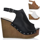 Womens Platform Croc Print Wedge Heel Sandals Pumps Shoes Sz 5-10