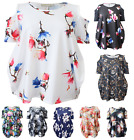 New Womens Ladies Floral Shoulder Cross Baggy Printed Flared Top Plus Size 8-26