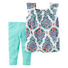 Carter's 2 Piece White Paisley Printed Babydoll Top with Blue Capri Leggings Set
