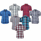 Men's New Summer Cotton Yarn Dyed Slim Fit Short Sleeve Check Shirt Tops S-XXL