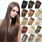 Thick SET Full Head Clip in on Real Human Hair Extensions Black Brown Blonde Red