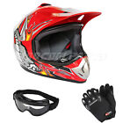 DOT Youth Motocross Off-Road Helmet w/Goggles+Gloves