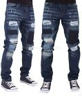 Peviani Mens Boys Patch Frayed Ripped Star Jeans Hip G Hop Club Wear Brkwd DB
